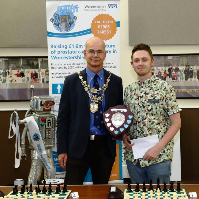 Councillor Roger Coleman with James Friar from Bewdley Chess Club at the 2018 tournament