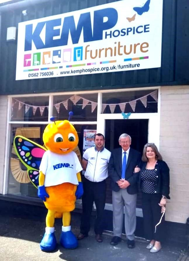 The KEMP Hospice butterfly mascot with furniture store manager Paul Priest, volunteer Dougie Allan and head of retail Lynne Haines