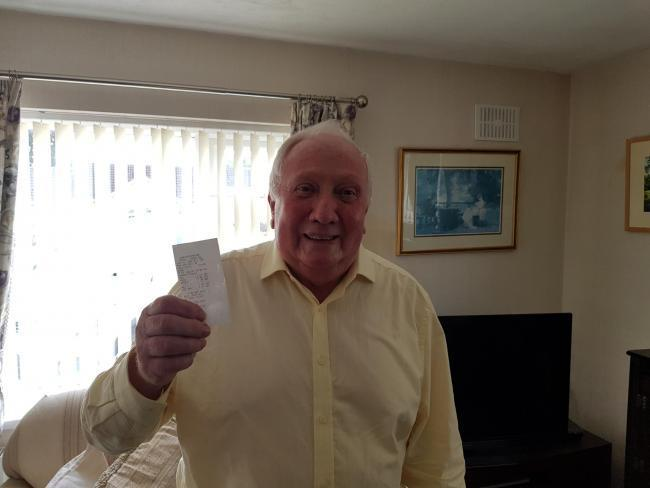 Stan Hubbard with his ticket from Worcestershire Royal