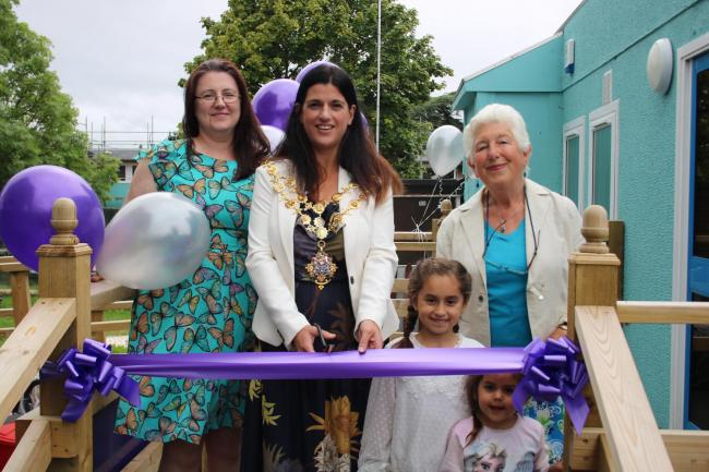 Kate Shepherd, Bright Sparks Manager, Councillor Kath Hey, Mayor of Hereford, Councillor Felicity Norman, Cabinet Member for Children and Families.