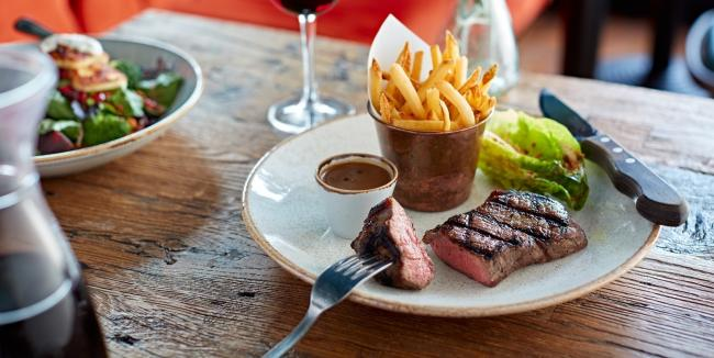 Steak at Bistrot Pierre. Photo by Phil Boorman