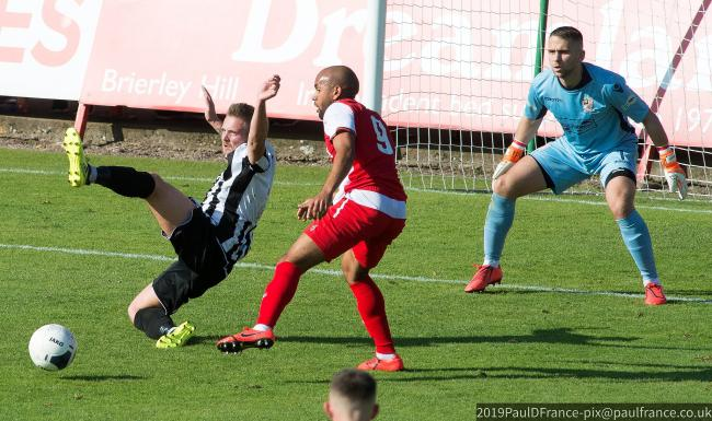 Ash Chambers denied against Stafford Rangers. Photo by Paul France