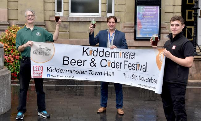 Rob Budworth, CAMRA Festival Organiser, Matt Smith, Town Hall Manager and Alex Sparks of Big Print Company, outside Kidderminster Town Hall. PIC: Colin Hill