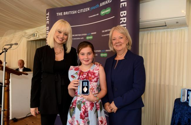 Kimberly Wyatt, patron of the British Citizen Youth Awards, Chloe Blanchfield, and Dame Mary Perkins