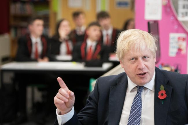 Boris Johnson during a visit to George Spencer Academy in Nottingham