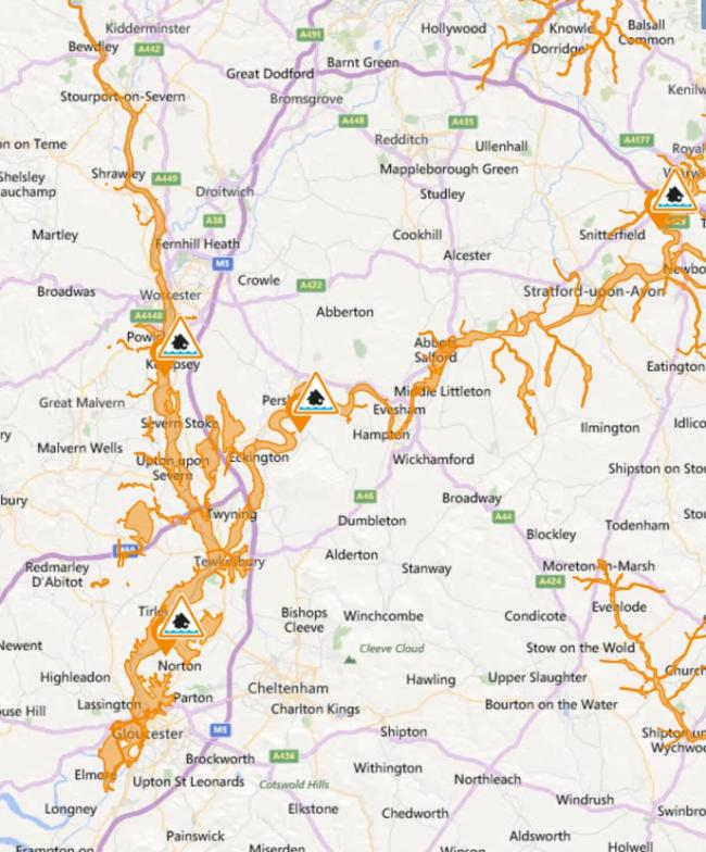 The flood warning areas