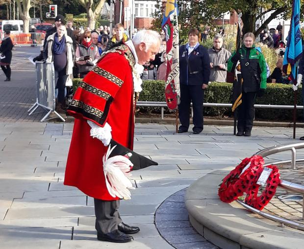 Kidderminster Shuttle: Mayor of Dudley - Cllr David Stanley - at the cenotaph in Dudley. Pic - Dudley Council