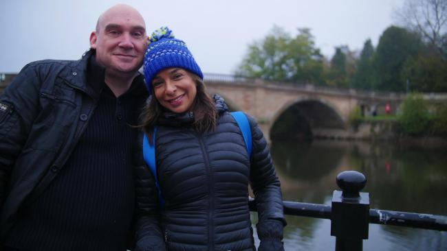 Director Paul Barnett with Shobna Gulati next to Bewdley Bridge