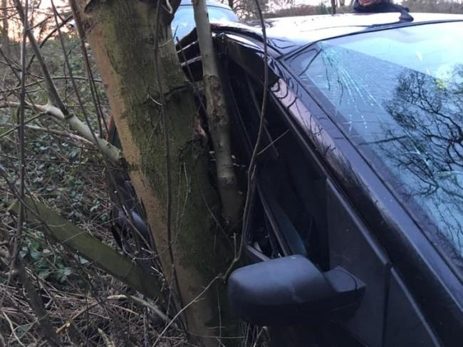 Drivers urged to be mindful of weather conditions after car crashes into a tree in Bewdley. PIC: Bewdley Fire Station