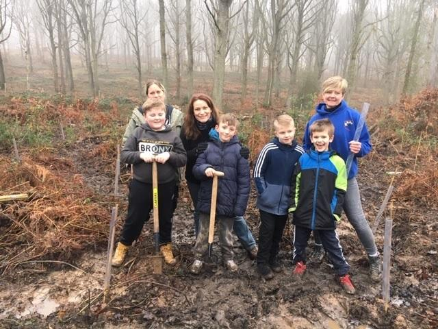 Volunteers and students from Birchen Coppice Primary Academy helped with the tree planting
