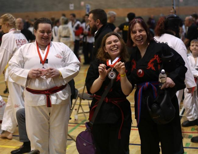 Mother and Daughter Helen and Jessica Giles straight off the mat