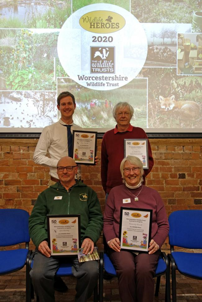 Wildlife heroes Liam Crowley, David Williams, Chris Bradley and Rosemary Winnall