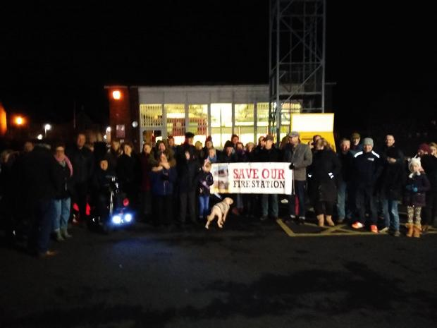 Kidderminster Shuttle: Residents and campaigners came out in the cold to support the fire station.