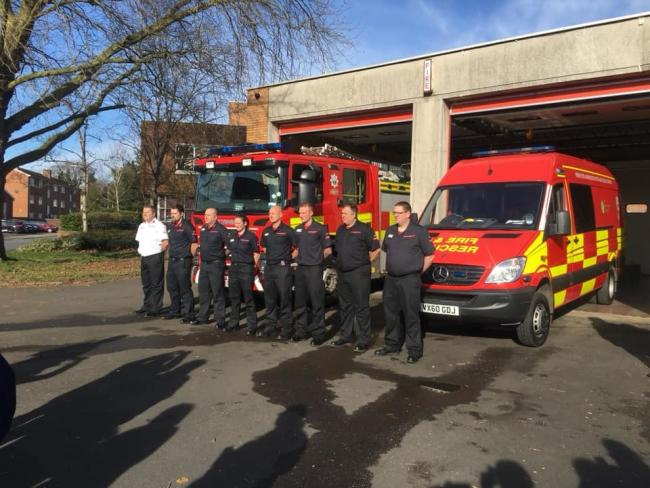 Firefighters of the past and present mark the closure of Stourport Fire Station. PIC: Bewdley Fire Station