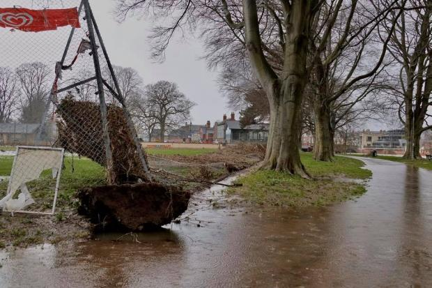 Damage to tennis courts fencing caused by Storm Dennis in Bishops Meadow, Hereford. Picture: Ian Jebb