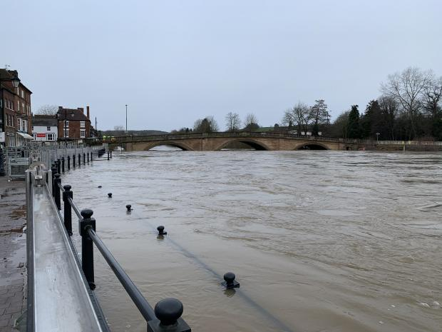 Kidderminster Shuttle: The River Severn in Bewdley this morning. Photo by @IanJonesEA