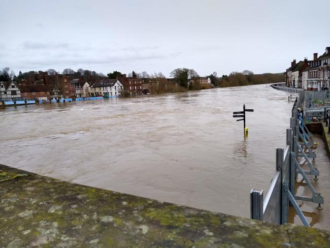 High river levels in Bewdley overnight.