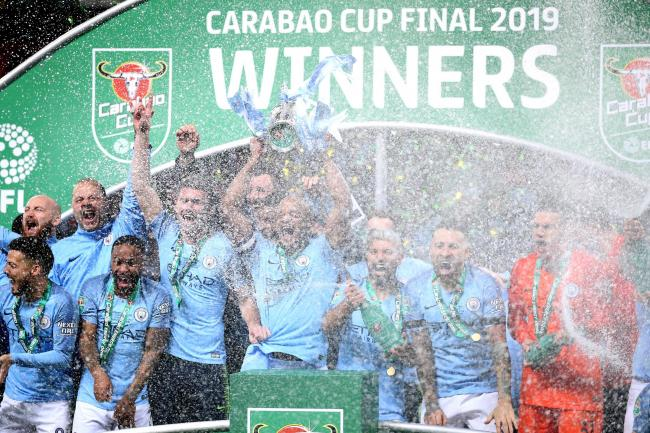 Manchester City celebrate winning the 2019 Carabao Cup