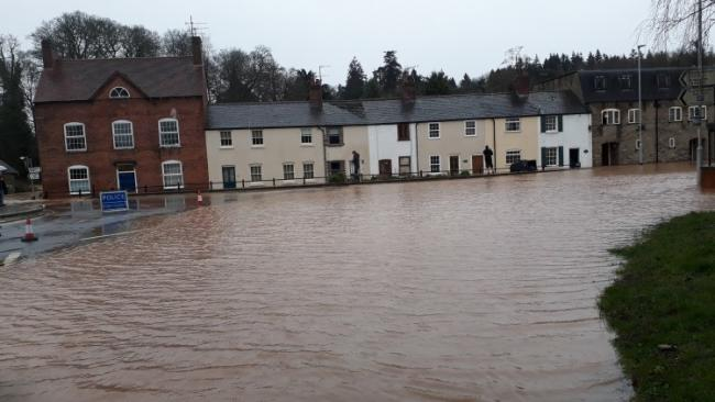 Flooding in Temeside in Ludlow caused by Storm Dennis