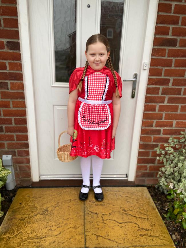 Maisy age 8 being little red riding hood for world book day 2020