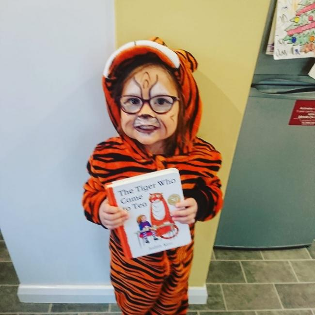 Matilda, aged 5, from St Catherine's Primary School dressed as The Tiger Who Came To Tea.