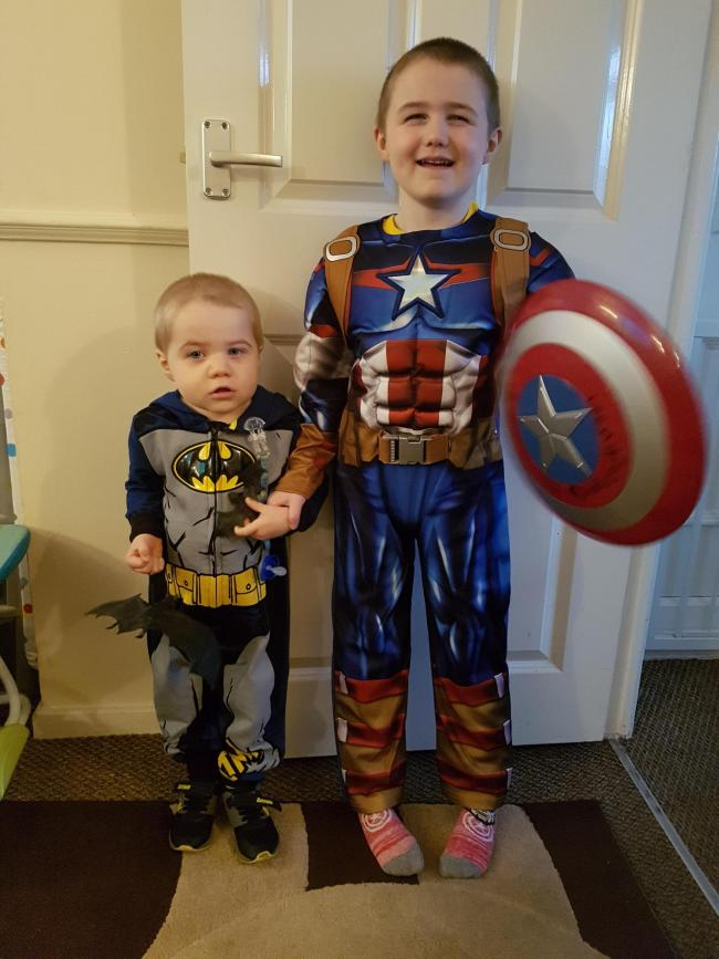 My 2 sons Lee Hartill  age 5 dressed as Captain America and Ben Hartill age 2 dressed as Batman