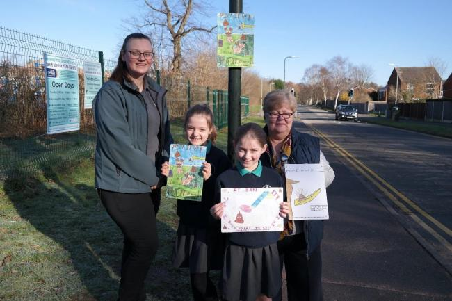 Community and environment protection officer Kim, Heronswood Primary School children Lilliana Sandell, aged eight, and Angel-Sarn Sanderson, aged 10, and Councillor Helen Dyke