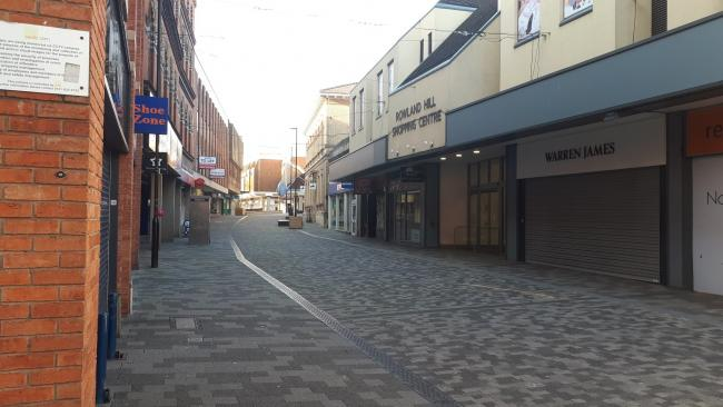 Kidderminster town centre on Tuesday after the Government ordered people to stay inside. Photo by @KMinsterCops
