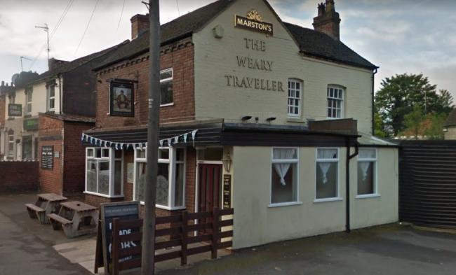 A traffic cone was thrown through the window of The Weary Traveller in Kidderminster on Sunday. Photo from Google Maps