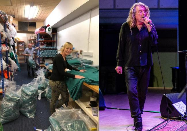 Gino Ruffinato and Kim Calder (left) making scrubs at MG Sportswear in Kidderminster. Led Zeppelin singer Robert Plant (right) has donated thousands towards materials. Right photo by Rob Hadley/Indie Images Photography