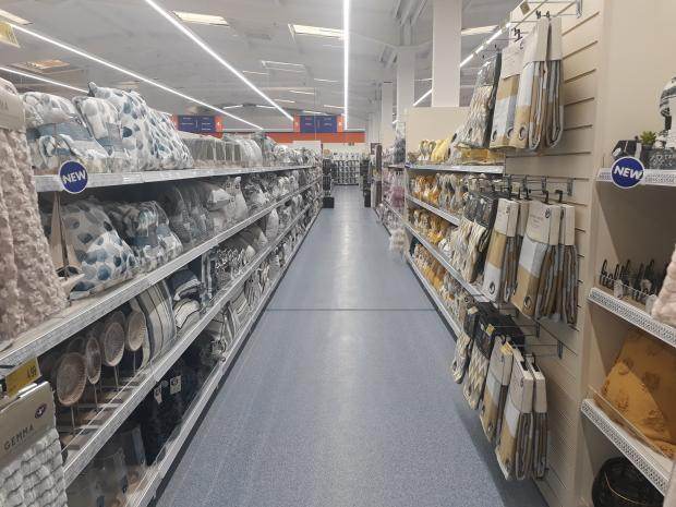 Kidderminster Shuttle: The soft furnishings aisle at Kidderminster's new B&M