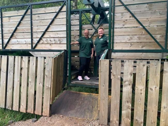 Habberley Trail manager Roxanne Brown and cafe assistant Stacey Hall on the giant seesaw