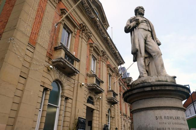 The statue of Sir Rowland Hill outside Kidderminster Town Hall
