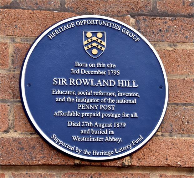 Kidderminster Shuttle: A plaque unveiled in Blackwell Street in 2016 honouring Kidderminster's own Sir Rowland Hill. Photo by Colin Hill