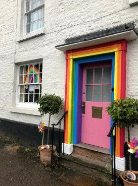 Kidderminster Shuttle: The Hemmings family's rainbow door in Bewdley. Photo by SWNS