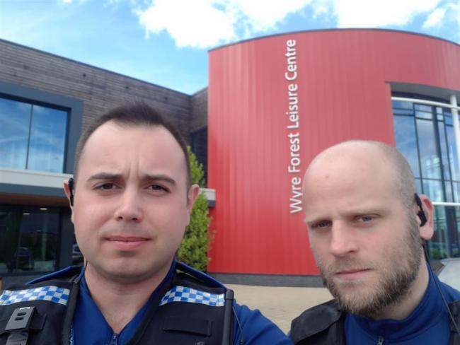 Kidderminster PCSOs Luke Holloway and Niall Ryland are attempting to walk to Wales to raise money for the NHS