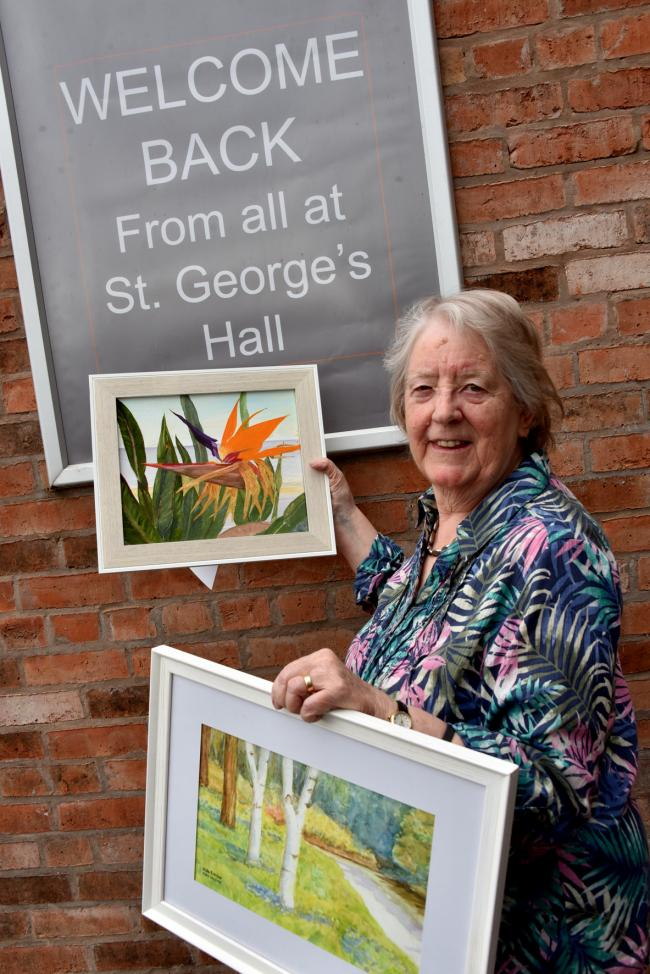 Diana Clutterbuck, of Simply Art Group, Kidderminster, launching the exhibit at St George's Hall in Bewdley. Photo by Colin Hill