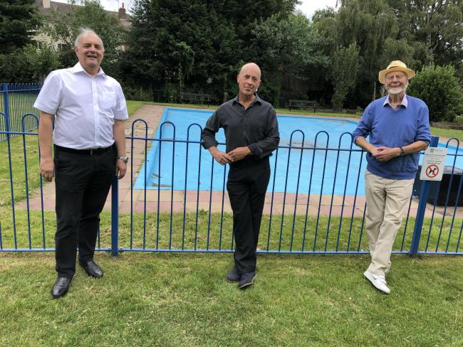 Dale Preece-Kelly with Councillors David Ross and Martin Stooke at St George's Park paddling pool