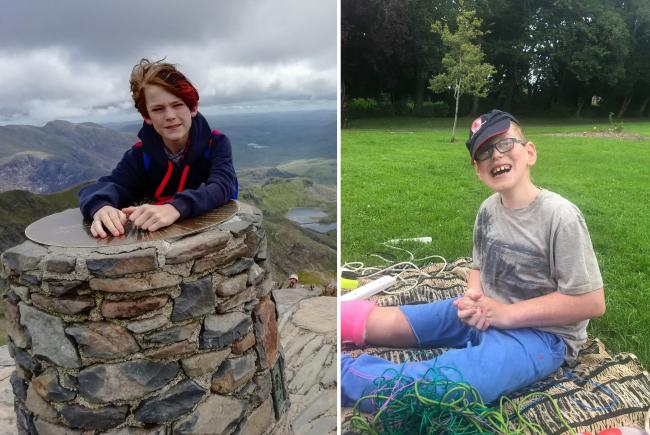 Alex Mason (left) is climbing Mount Snowdon for the second time in aid of the charity helping his cousin Andrew (right)