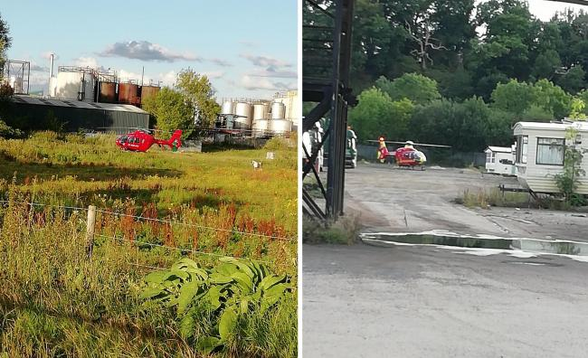 Two air ambulances landed in Sandy Lane after a gas explosion on a boat
