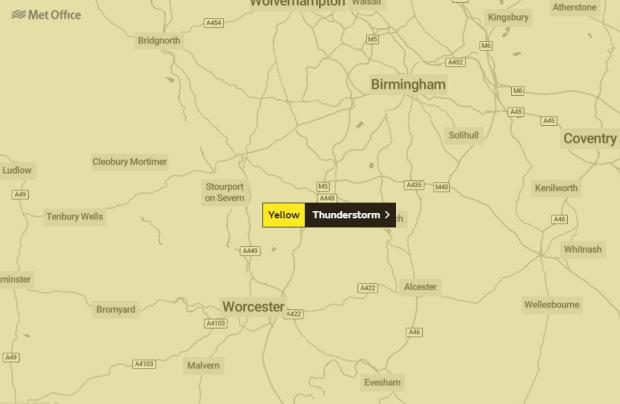 Kidderminster Shuttle: The Met Office has issued a yellow weather warning for thunderstorms in the area until Thursday