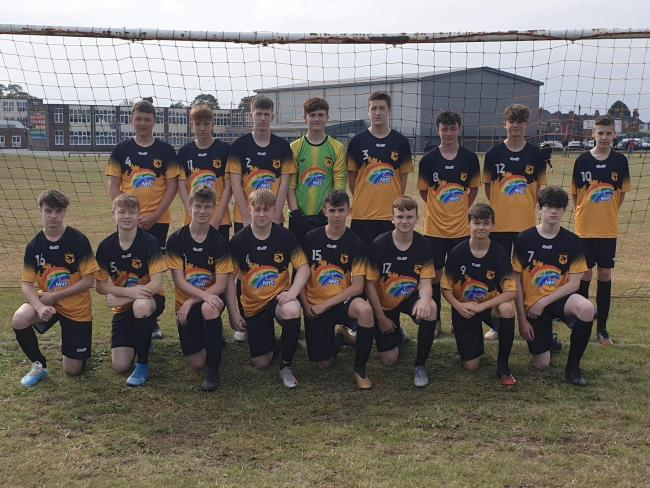 Stourport Swifts under-16s paying tribute to the NHS in their new kit