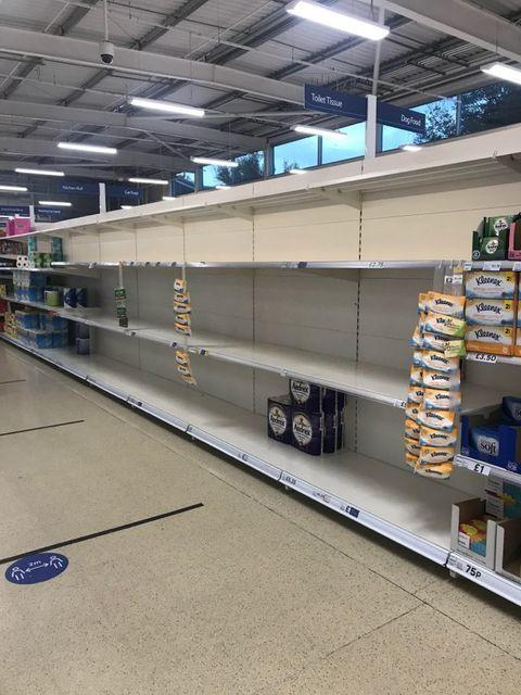 Empty shelves in Tesco in Stourport. Photo by Tania Southall