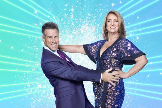 Jacqui Smith and Anton Du Beke, during the launch show for the BBC1 dancing contest, Strictly Come Dancing. PA Photo.