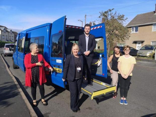 Kidderminster Shuttle: Sue Houghton, Ange McGuire, Cllr Leigh Whitehouse, Cllr Anna L'Huillier and Cllr Vicky Caulfield launching a minibus service on the Habberley Estate after the number 2 service was axed