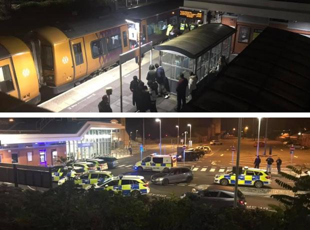Photographs show police descending on Kidderminster Railway Station. Pictures: Tabatha Robbins