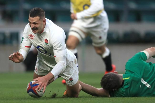 Jonny May, left, scores his second try against Ireland