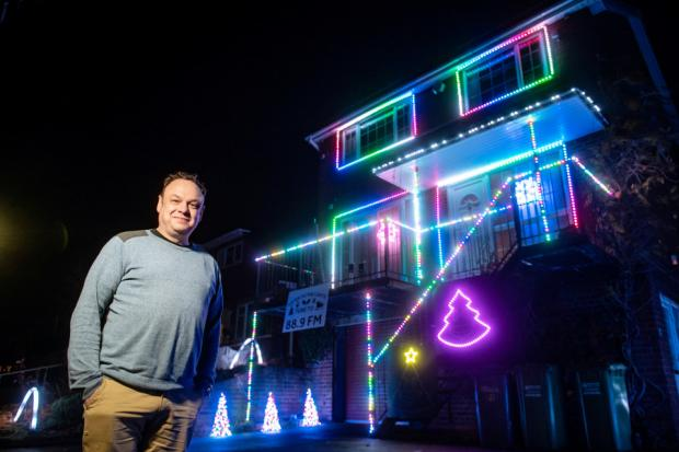 Kidderminster Shuttle: Nick Wright with last year's Christmas lights display. Photo by SWNS