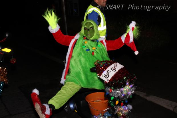 Kidderminster Shuttle: Laura Hood dressed as the Grinch, following Santa on his sleigh around Kidderminster. Photo by SMART Photography