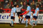 John Finnigan fires home Harriers' second. Picture: ADRIAN HOSKINS
